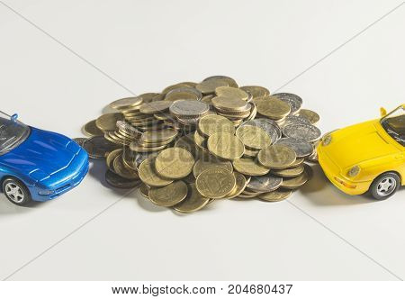 Car insurance with coins and car services concept. Business concept. Car insurance concept.