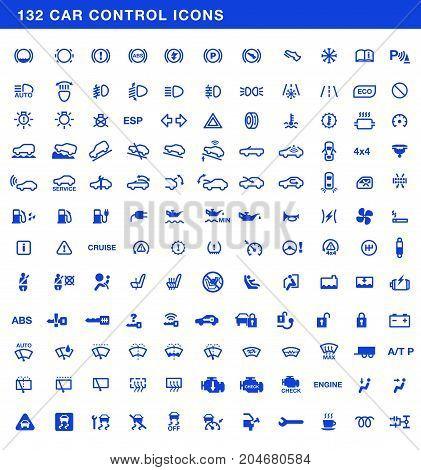 Car dashboards symbols full vector set, control icons