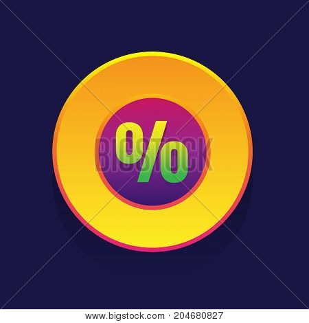 sale. colored button Percent on blue background. vector illustrationsale. colored button Percent on blue background. vector illustration