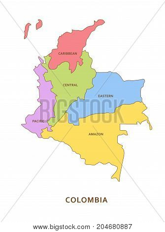 Colombia regions, multicolored vector province geography background