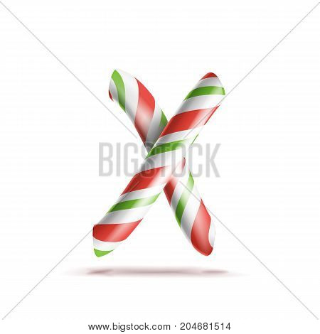 Letter X Vector. 3D Realistic Candy Cane Alphabet Symbol In Christmas Colours. New Year Letter Textured With Red, White. Typography Template. Striped Craft Isolated Object. Xmas Art
