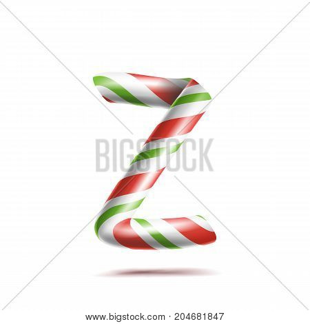 Letter Z Vector. 3D Realistic Candy Cane Alphabet Symbol In Christmas Colours. New Year Letter Textured With Red, White. Typography Template. Striped Craft Isolated Object. Xmas Art