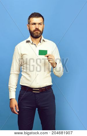 Business And People At Work Concept. Man With Beard