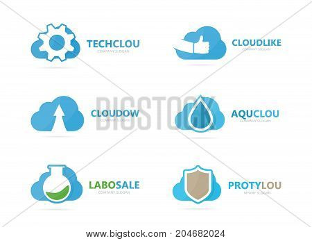 Set of cloud logo combination. Loading and download symbol or icon. Unique upload and network logotype design template.