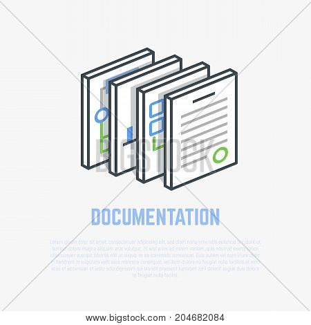 Documents and papers. Isometric thick paper. Flat style line modern vector illustration with retro colors. Bussines documentation and folder.