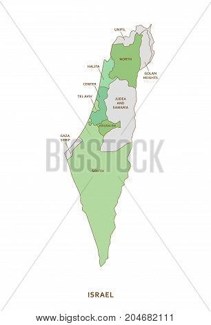 Israel regions, green vector province geography background