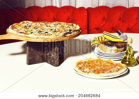 Tasty Pizza On White Table