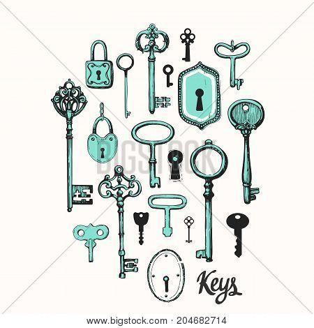 Vector set of hand-drawn antique keys. Illustration in sketch style on white background. Old design
