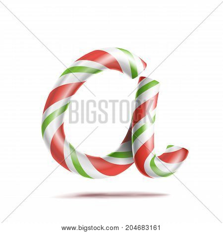 Letter A Vector. 3D Realistic Candy Cane Alphabet Symbol In Christmas Colours. New Year Letter Textured With Red, White. Typography Template. Striped Craft Isolated Object. Xmas Art