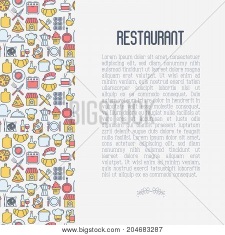 Restaurant concept with thin line icons: chef, kitchenware, food, beverages for menu or print media. Vector illustration for banner, web page with place for text.