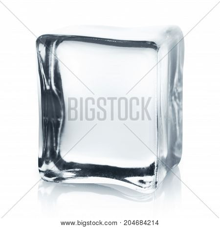 Transparent ice cube with reflection isolated on white background. Closeup of cold crystal block cutout