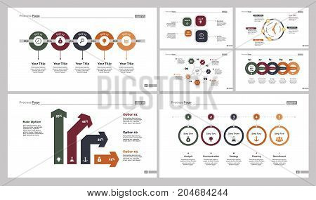 Infographic design set can be used for workflow layout, diagram, annual report, presentation, web design. Business and analytics concept with process, timing and percentage charts.