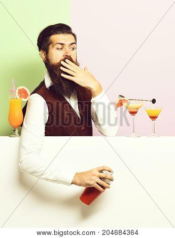 Surprised Handsome Bearded Barman