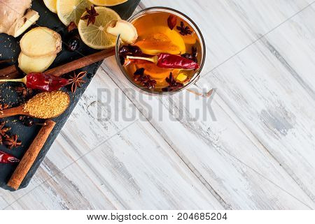 Cup Of Tea With Ginger, Lemon And Brown Sugar