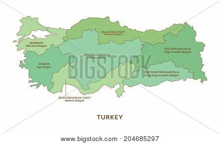 Turkey regions, green vector province geography background