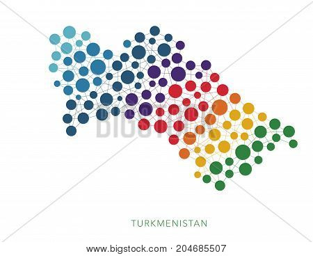 dotted texture Turkmenistan vector rainbow colorful background