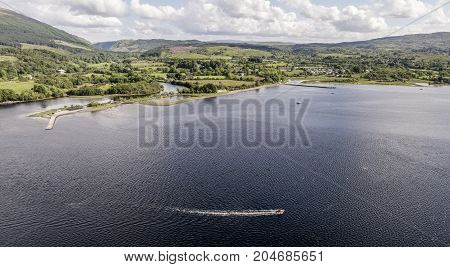 Aerial view of Taynuilt seen from Loch Etive, Argyll, Scotland