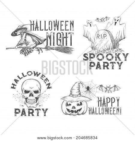 Halloween party or horror night holiday sketch icons for 31 October spooky trick or treat celebration design. Vector horror design of Halloween pumpkin lantern, skeleton skull or witch and grave tomb
