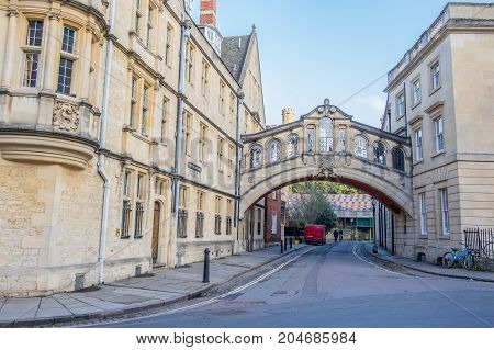 Oxford UK - December 20 2016 : Hertford Bridge popularly known as the Bridge of Sighs is over New College Lane in Oxford England.