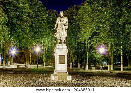 Monument to Cossack otaman Sirko at summer night, the town of Pokrov, Ukraine