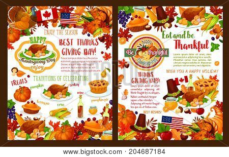 Thanksgiving day holiday greeting card or poster for seasonal autumn wishes. Turkey, fruit pie or maple leaf and oak acorn, wine or mushroom and pumpkin cornucopia harvest or pilgrim hat vector design