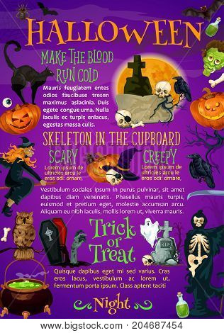 Halloween holiday night celebration poster. Halloween pumpkin with witch hat, spider and skull horror party banner template with flying bat and ghost, creepy skeleton with scythe, cemetery and zombie