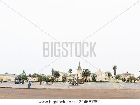 SWAKOPMUND NAMIBIA - JUNE 30 2017: The historic railroad station now a hotel casino and entertainment complex in Swakopmund in the Namib Desert on the Atlantic Coast of Namibia