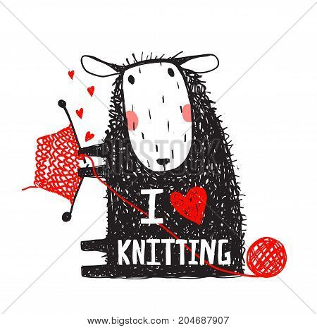 Sitting with hobby little adorable woolen animal greeting card. Vector illustration.