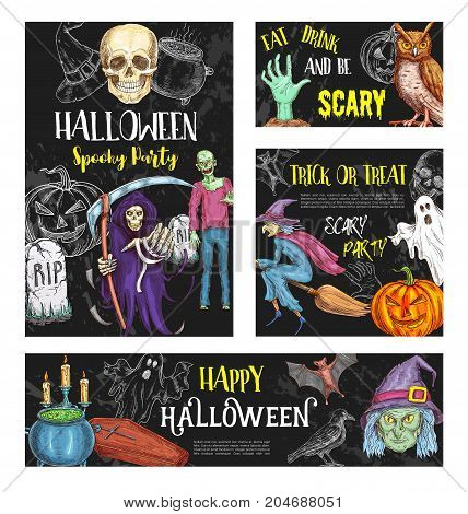 Halloween trick or treat scary party poster or invitation sketch banners. Vector Halloween pumpkin, skeleton skull and zombie monster, witch in moon and grave tomb, black bat or cat and spooky ghost