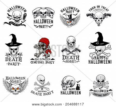Halloween skull and crossbones icons for trick or treat night party or invitation design template. Vector isolated set of Halloween scary skull in witch hat, pirate bandana and on spooky grave tomb