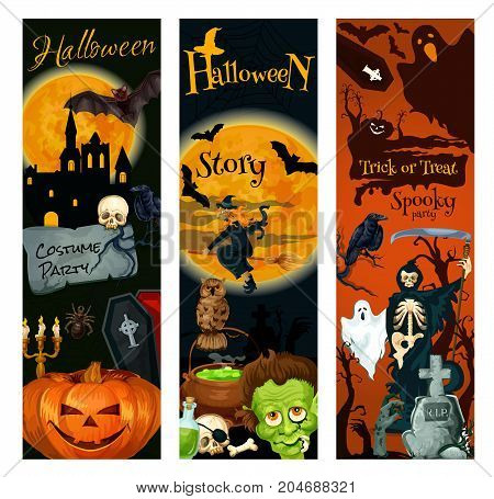 Halloween holiday banner. October night horror party greeting card with pumpkin lantern, bat and spider, creepy ghost, witch and skeleton skull, zombie grave and moon, spooky house and tree silhouette