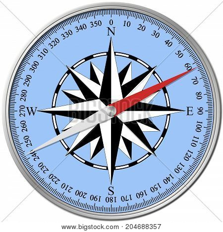 3D illustration of a compass showing degrees and wind rose