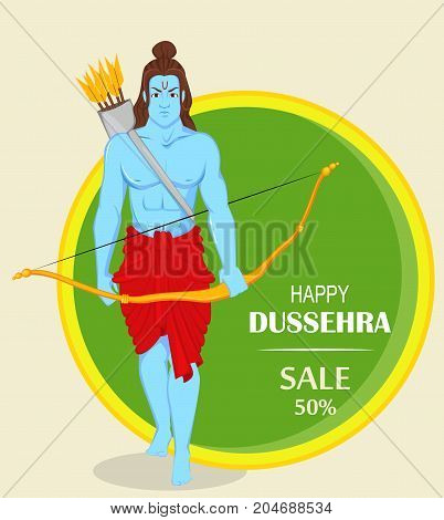 Lord Rama with bow and arrows for Dussehra Navratri festival of India. Banner or poster for sale. Vector illustration for holiday