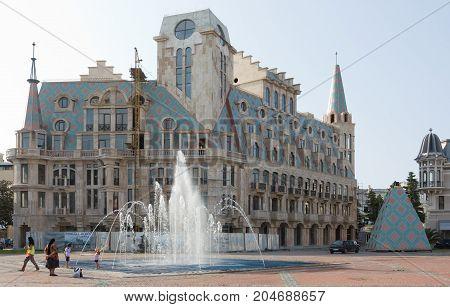 BATUMI, GEORGIA -AUGUST 14, 2013 : View of Eras Moedani square in Batumi, Georgia . Batumi is the capital of the Autonomous Republic of Adjara.