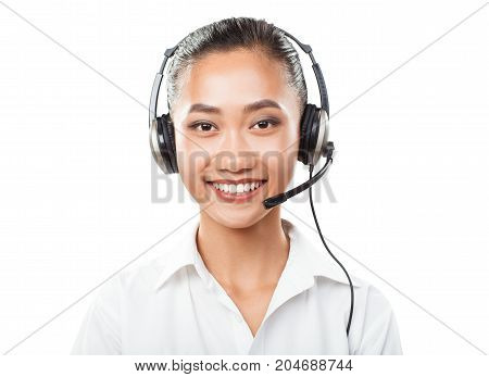 Asian Businesswoman With Headset - Agent, Sales Manager, Customer Support Concept