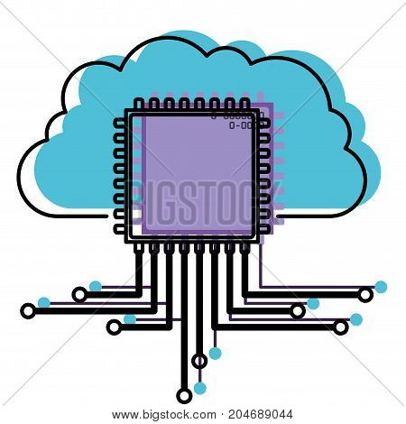 cloud storage data and cpu microprocessor icon watercolor silhouette with thick contour vector illustration