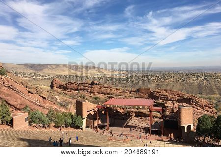 Overview of Red Rocks Amphitheater in Morrison, Colorado