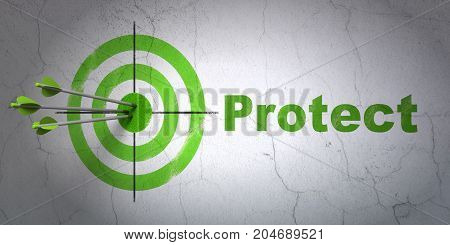 Success safety concept: arrows hitting the center of target, Green Protect on wall background, 3D rendering