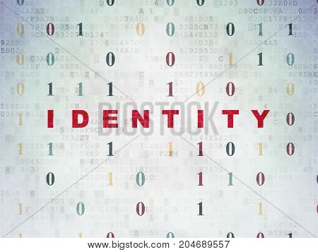 Security concept: Painted red text Identity on Digital Data Paper background with Binary Code