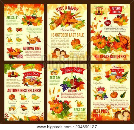 Thanksgiving day autumn sale poster or leaflet design of seasonal pumpkin or berry harvest, turkey or fruit pie and mushroom in cornucopia. Vector maple leaf, wine or oak acorn for discount shopping