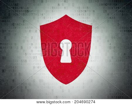 Protection concept: Painted red Shield With Keyhole icon on Digital Data Paper background