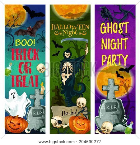 Halloween ghost party banner of october holiday. Halloween night cemetery with pumpkin lantern and bat, skeleton skull and gravestone, death or grim reaper with scythe for greeting card, poster design