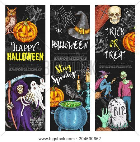Halloween night holiday sketch greeting banners of pumpkin lantern and spooky ghost. Vector trick or treat design template of Halloween zombie skull, witch or black cat, coffin and candle on grave