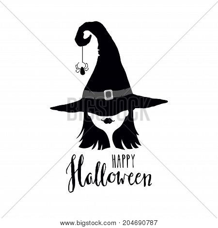 Happy Halloween greeting card with witch in hat. Black and white vector illustration.Design elements for Halloween event.