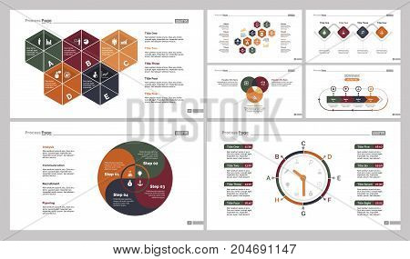 Infographic design set can be used for workflow layout, diagram, annual report, presentation, web design. Business and logistics concept with process, timing, Venn and percentage charts.