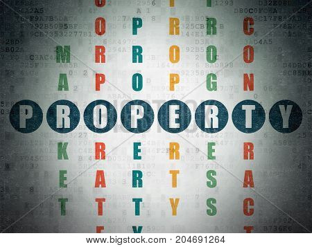 Business concept: Painted blue word Property in solving Crossword Puzzle on Digital Data Paper background