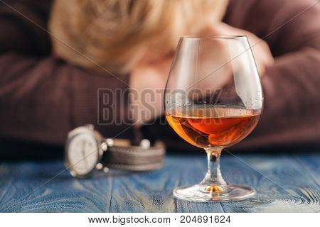 Man Relax With Alcohol After Hard Work