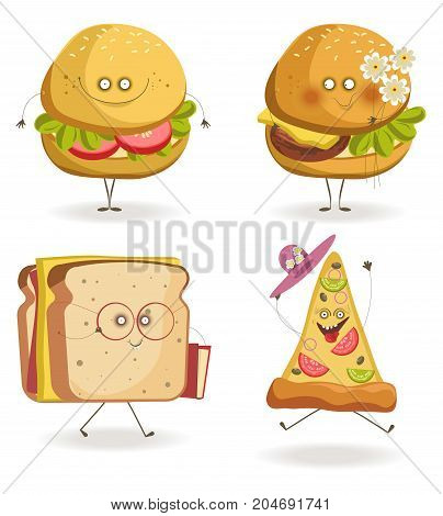 Cartoon fast food characters with cheerful human face expressions. Vector isolated cheeseburger smiling or holding flowers, hod dog with book and sandwich in glasses, grateful pizza hat