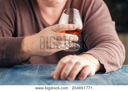 Man Drinking Malt Whisky In Relax Time