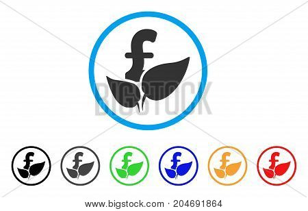 Agriculture Pound Startup rounded icon. Style is a flat agriculture pound startup grey symbol inside light blue circle with black, gray, green, blue, red, orange versions.